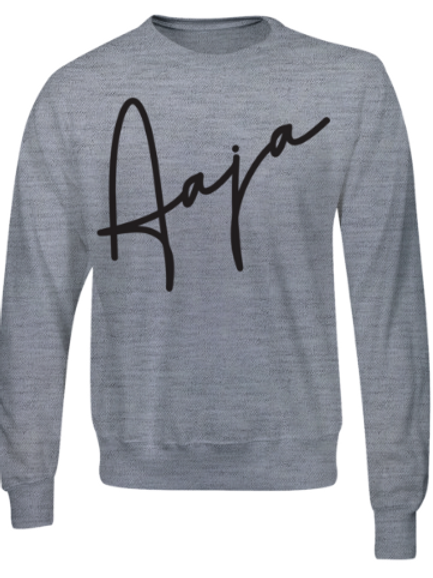 Aaja Heather Grey Jumper (large black aaja sig front)