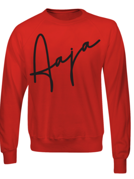 Aaja Red Jumper (large black aaja sig front)