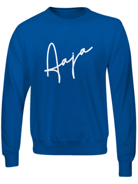 Aaja Blue Jumper (medium white aaja sig front)