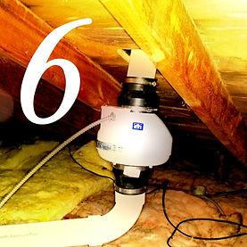 Radon fan installed in attic