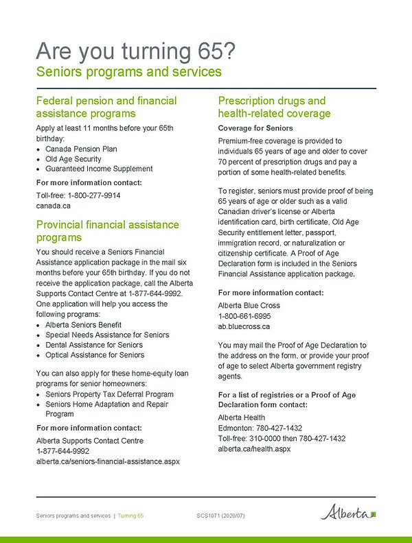 Seniors Programs and Services - Are you
