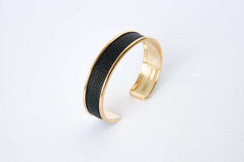 Bracelet manchette jonc cuir noir laiton or le bellifontain