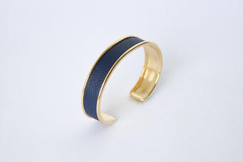 bracelet jonc manchette cuir bleu marine or laiton le bellifontain