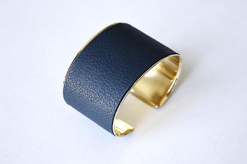 Bracelet manchette jonc cuir bleu minéral or laiton le bellifontain