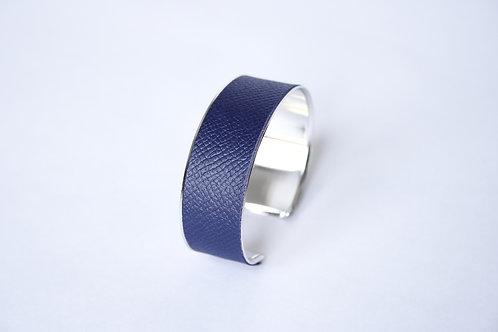 Bracelet manchette jonc cuir bleu marine argent laiton le bellifontain
