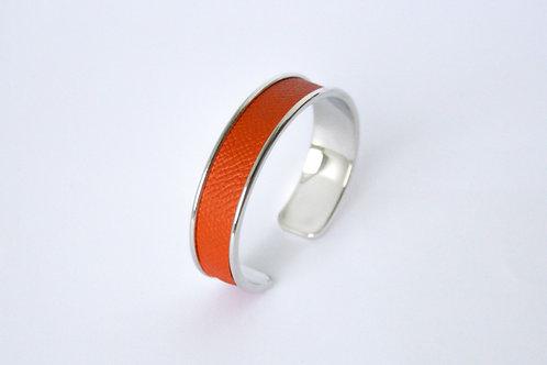 Bracelet manchette jonc cuir orange brique laiton argent le bellifontain