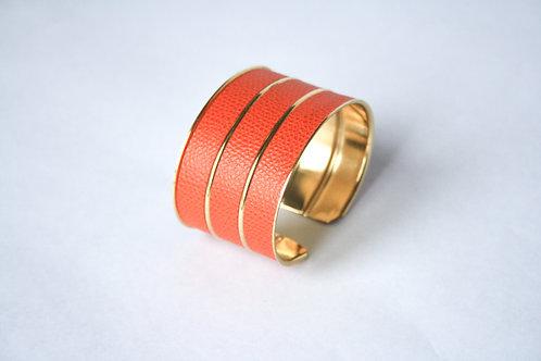 Bracelet manchette jonc cuir orange tangerine or laiton le bellifontain