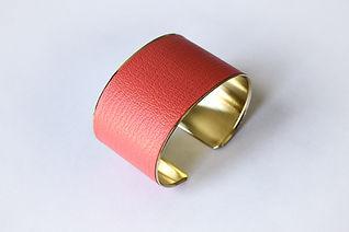 Bijou Bracelet manchette cuir saint Merry or