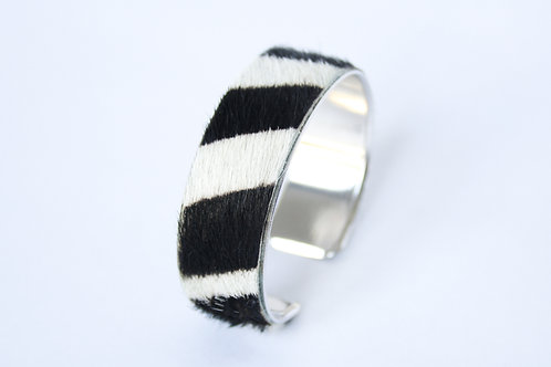 Bracelet manchette jonc cuir zebre argent laiton le bellifontain