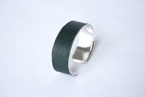 Bracelet manchette jonc cuir vert impérial argent laiton le bellifontain