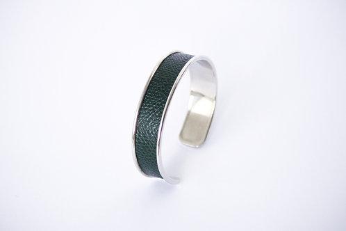 Bracelet manchette jonc cuir vert sapin or argent laiton le bellifontain