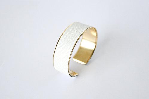 Bracelet manchette jonc cuir blanc or laiton le bellifontain
