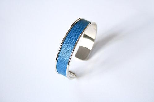 Bracelet manchette jonc cuir turquoise argent laiton le bellifontain