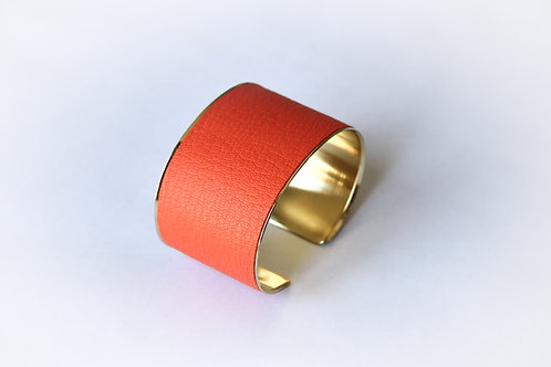 Bracelet manchette jonc cuir orange fluo or laiton le bellifontain