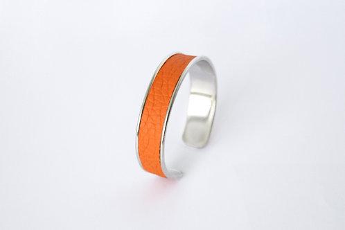 Bracelet manchette jonc cuir orange argent laiton le bellifontain