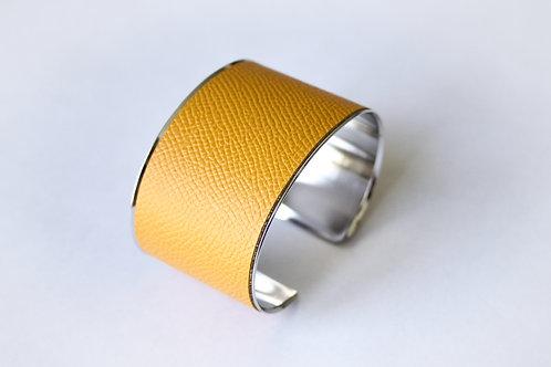 Bracelet manchette jonc cuir jaune de damas argent laiton le bellifontain