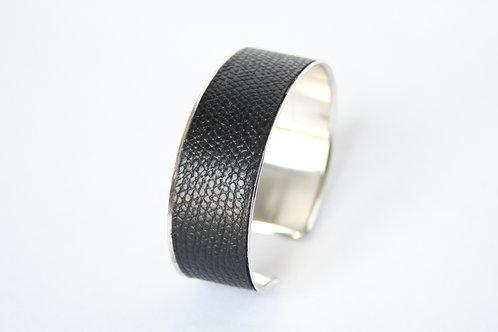 Bracelet manchette jonc cuir noir argent laiton le bellifontain