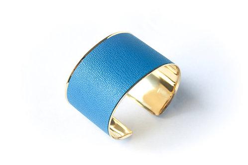 Bracelet manchette jonc cuir bleu canard or laiton le bellifontain