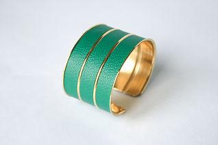 Bijou Bracelet manchette cuir royal or