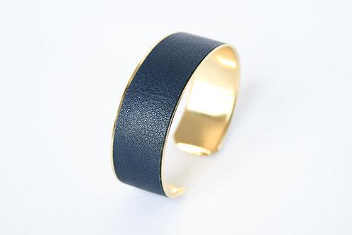 Bracelet manchette jonc cuir bleu marine minéral or laiton le bellifontain