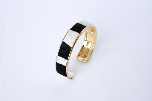 Bracelet manchette jonc cuir zebre or laiton le bellifontain