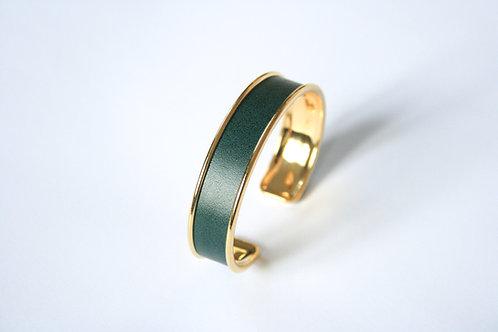 Bracelet jonc manchette cuir vert sapin laiton or le bellifontain