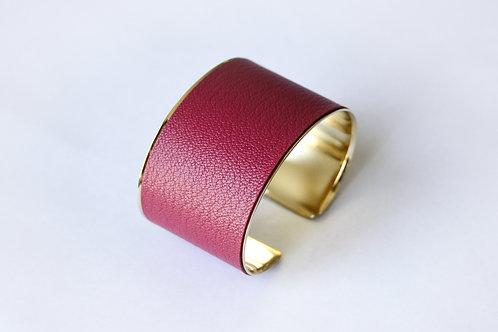 Bracelet manchette jonc cuir cerise or laiton le bellifontain