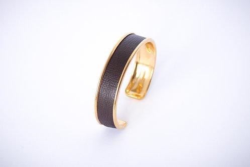 Bracelet manchette jonc cuir marron café or laiton le bellifontain