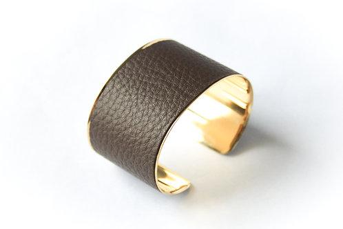 Bracelet manchette jonc cuir marron chocolat or laiton le bellifontain