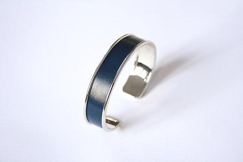 Bracelet jonc manchette cuir bleu egyption argent le bellifontain