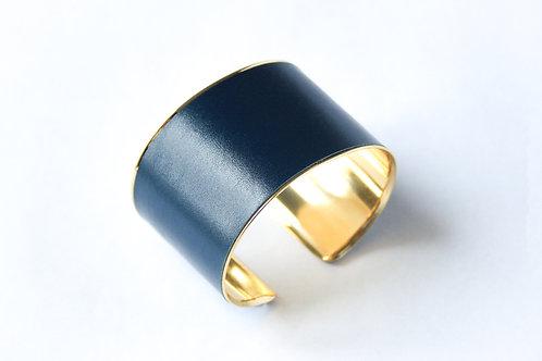 Bracelet manchette jonc cuir bleu egyptien or laiton le bellifontain