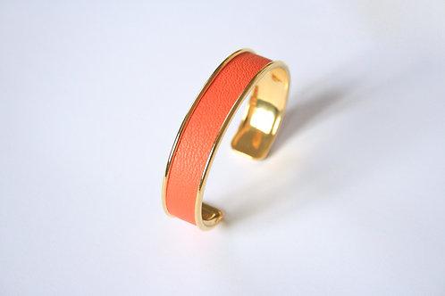 Bracelet jonc manchette cuir orange fluo or laiton le bellifontain