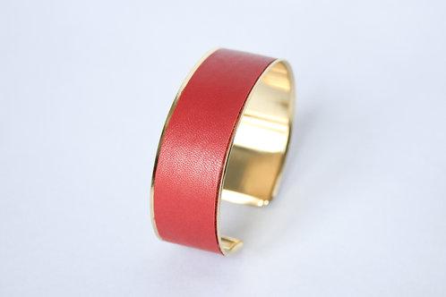 Bracelet manchette jonc cuir rouge or laiton le bellifontain