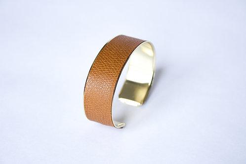 Bracelet manchette jonc cuir camel or laiton le bellifontain