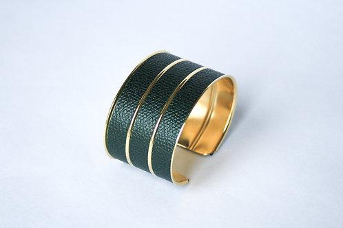 Bracelet manchette jonc cuir vert impérial or laiton le bellifontain