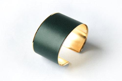 Bracelet manchette jonc cuir vert sapin or laiton le bellifontain