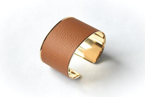 Bracelet manchette jonc cuir camel marron or laiton le bellifontain