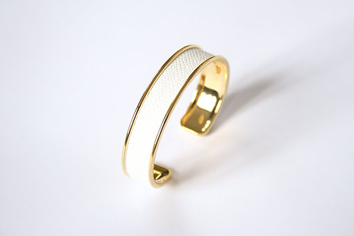 Bracelet jonc manchette cuir blanc laiton or le bellifontain