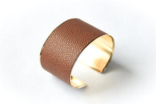 Bracelet manchette jonc cuir cappuccino or laiton le bellifontain