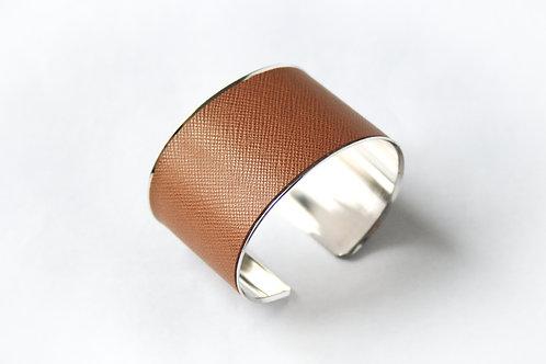 Bracelet manchette jonc cuir noisette argent laiton le bellifontain
