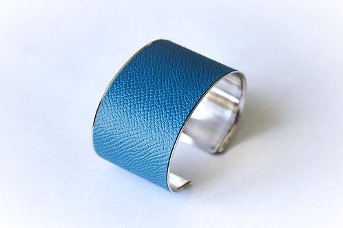 Bracelet manchette jonc cuir bleu turquoise argent laiton le bellifontain