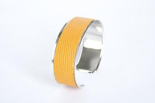 Bracelet manchette jonc cuir jaune damas argent laiton le bellifontain