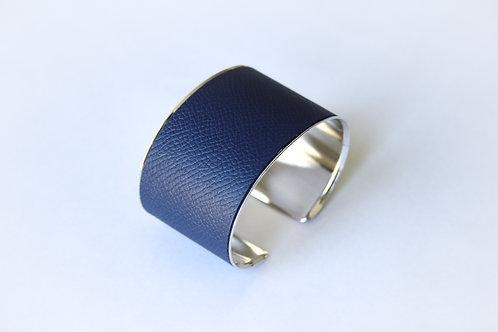 Bracelet manchette jonc cuir bleu marine or argent laiton le bellifontain