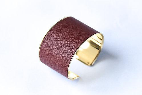 Bracelet manchette jonc cuir bordeaux or laiton le bellifontain