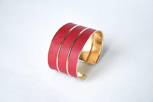 Bracelet manchette jonc cuir rouge rubis or laiton le bellifontain