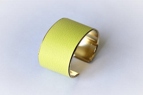 Bracelet manchette jonc cuir jaune fluo or laiton le bellifontain