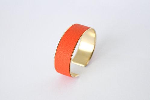 Bracelet manchette jonc cuir orange or laiton le bellifontain
