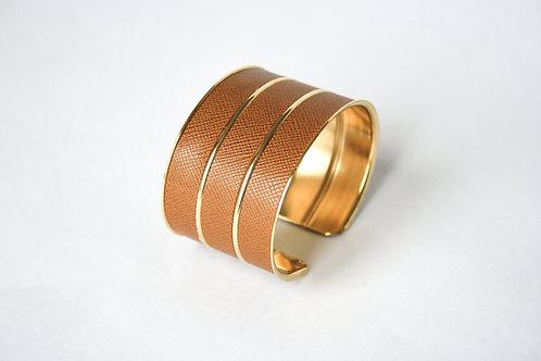 Bracelet manchette jonc cuir noisette or laiton le bellifontain