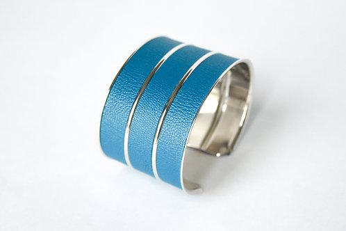 Bracelet manchette jonc cuir bleu canard argent laiton le bellifontain