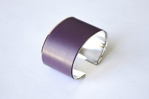 Bracelet manchette jonc cuir aubergine argent laiton le bellifontain